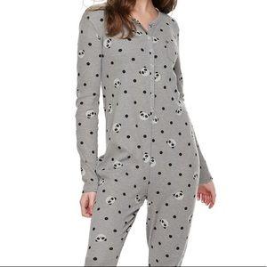 SO Onesie Pajamas PANDAS Gray XL NWT 💖🐼💖🐼